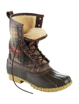 "Women's L.L.Bean Boot, 10"" Shearling Lined Wool Plaid by L.L.Bean"