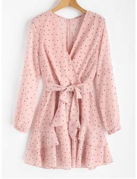 Ruffle Polka Dot Surplice Dress   Light Pink S by Zaful