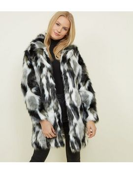 Blue Vanilla Black Patched Faux Fur Coat by New Look