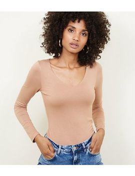 Camel V Neck Long Sleeve Bodysuit by New Look