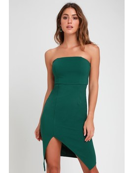 Jazzie Forest Green Strapless Bodycon Dress by Lulus
