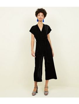 Black Ribbed Velvet Wrap Culotte Jumpsuit by New Look
