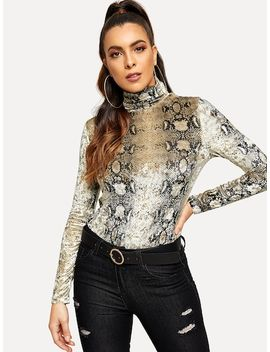 High Neck Snake Skin Print Fitted Tee by Shein