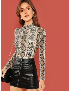 Mock Neck Snakeskin Fitted T Shirt by Shein