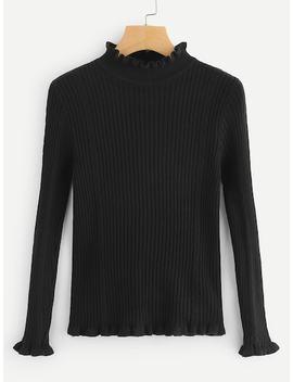 Frill Hem Ribbed Sweater by Sheinside