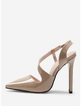 Oblique Strap Point Toe Heels by Sheinside