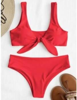 Zaful Tie Front Padded Bikini Set   Bright Red S by Zaful