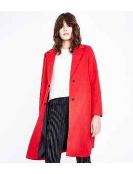 Red Revere Collar Split Back Coat by New Look