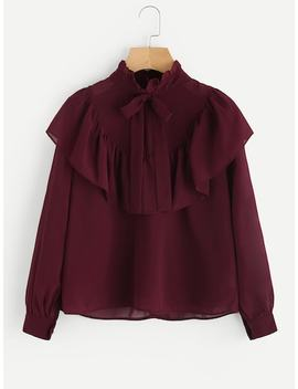 Self Tie Neck Frill Trim Blouse by Sheinside