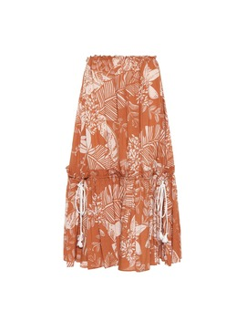 Printed Cotton Blend Midi Skirt by See By Chloé