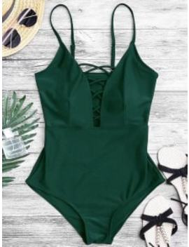Shaping Crisscross Plunge One Piece Swimsuit   Green S by Zaful