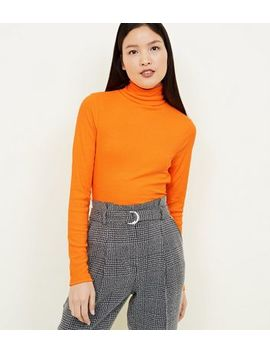 Bright Orange Neon Roll Neck Top by New Look