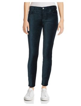 Ankle Skinny Velvet Jeans In Blackened Emerald by 7 For All Mankind