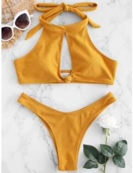 Ribbed High Neck Knot Bikini   Bee Yellow S by Zaful