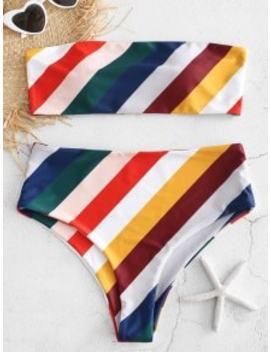Striped High Cut Bandeau Bikini   Multi S by Zaful