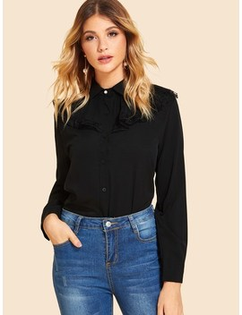 Contrast Lace Single Breasted Blouse by Sheinside