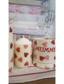 Shabby Chic Hand Decorated Emma Bridgewater Pink Hearts Themed Set Of Two Candles by Etsy