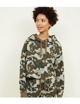 Khaki Camo Print Hoodie by New Look