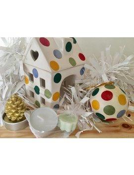 Handmade Emma Bridgewater Polka Dot House Shaped Ceramic Wax/Oil Burner And Matching Ceramic Glitter Bauble by Etsy