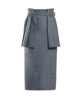 Pleated Panel Tweed Pencil Skirt by Fendi