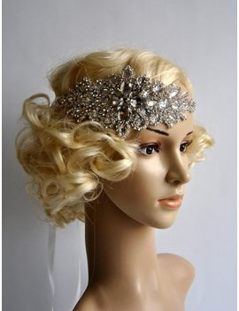 Glamour Rhinestone Flapper Gatsby Headband, Wedding Crystal Headband Hairpiece Headpiece, Bridal Headpiece, 1920s Flapper Headband by Etsy