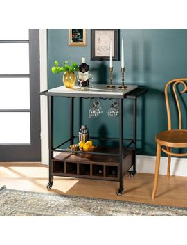 Faux Marble & Walnut Wood Bar Cart by Pier1 Imports