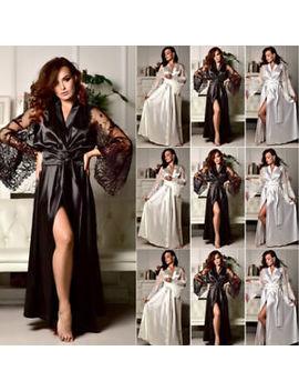 Silk Satin Long Robe Kimono Bridal Bridesmaid Dressing Gown Sleepwear Bathrobe by Ebay Seller