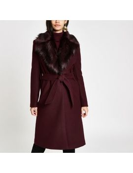 Dark Red Faux Fur Trim Belted Robe Coat by River Island