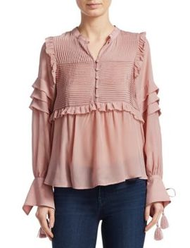 Long Sleeve Pleated Ruffle Blouse by Sea