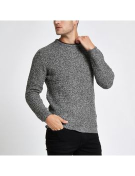 Grey Knit Long Sleeve Slim Fit Sweater by River Island