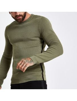 Dark Green Cable Tape Side Muscle Fit Jumper by River Island