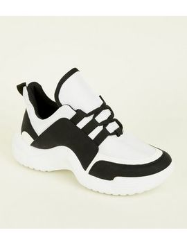 Black Curve Sole Chunky Trainers by New Look