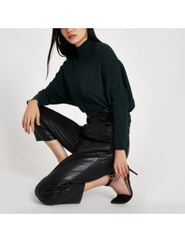 Dark Green Ribbed Knit High Neck Sweater by River Island