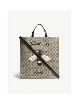 Bestiary Bee Gg Supreme Canvas Tote by Gucci