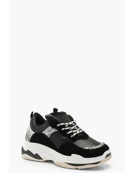 Snake Insert Chunky Trainers by Boohoo