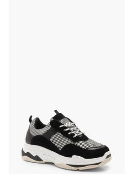 Checkerboard Chunky Trainers by Boohoo