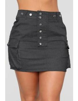 Cute As A Button Skirt   Black by Fashion Nova