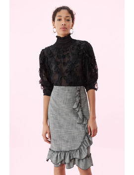 Silk & Embroidered Ruffle Top by Rebecca Taylor