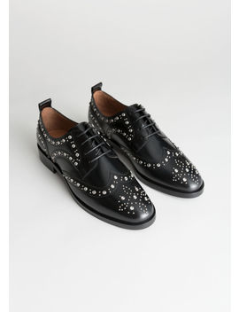 Rhinestone Stud Leather Brogues by & Other Stories