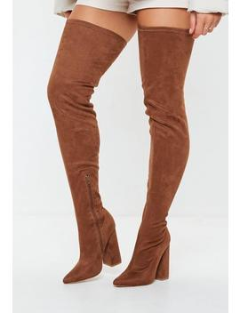 Brown Over The Knee Boots by Missguided