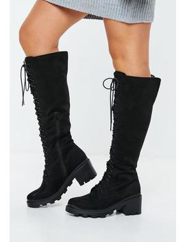 Black Lace Up Calf Height Boots by Missguided