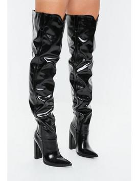 Black Block Heel Faux Leather Thigh High Boots by Missguided