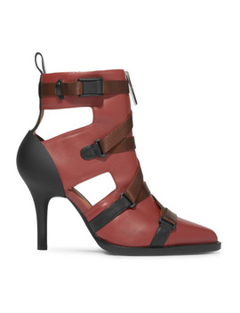 Tracy Cutout Rubber And Canvas Trimmed Leather Ankle Boots by Chloé