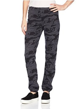 Monrow Women's Elastic Waist Sweats With Black Out Camo by Monrow