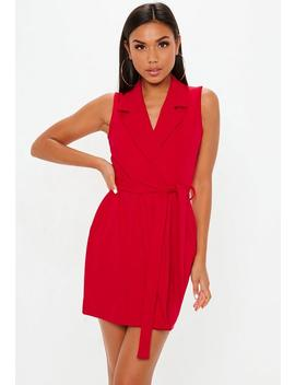 Red Sleeveless Stretch Crepe Blazer Dress by Missguided