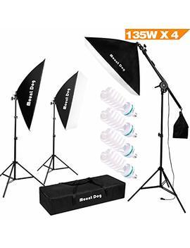"1350 W Photography Studio Lighting Kit Arm For Video And Youtube Continuous Lighting By Mountdog 20x28"" Professional Shadow Boom Box Lighting Set Headlight Softbox Setup With 4 Pcs 5500 K Daylight Bulbs by Mountdog"