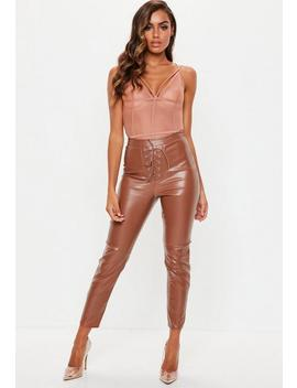Tan Lace Up Faux Leather Trousers by Missguided