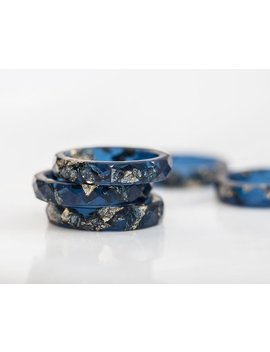 Deep Blue Resin Stacking Ring Gold Flakes Thin Faceted Ring Ooak Minimalist Jewelry Indigo Blue by Etsy