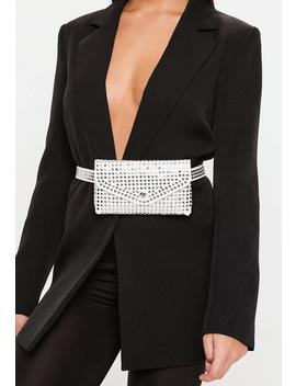 White Studded Belt Bag by Missguided