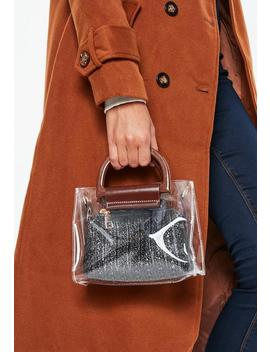 Clear Black Bag With Brown Handle by Missguided